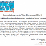 L'UNSA du Territoire de Belfort soutient les salariés d'Alstom Transport #